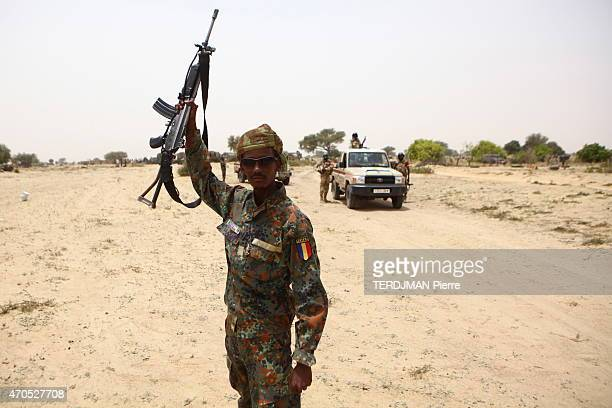 The Chadian and Nigerien army against islamists of Boko Haram in Nigeria soldiers of the nigerien army in the streets of Gaschagar freshly liberated...