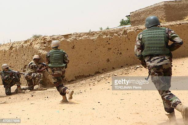 The Chadian and Nigerien army against the islamists of Boko Haram in Nigeria soldiers of the nigerien army in the streets of Gaschagar freshly...