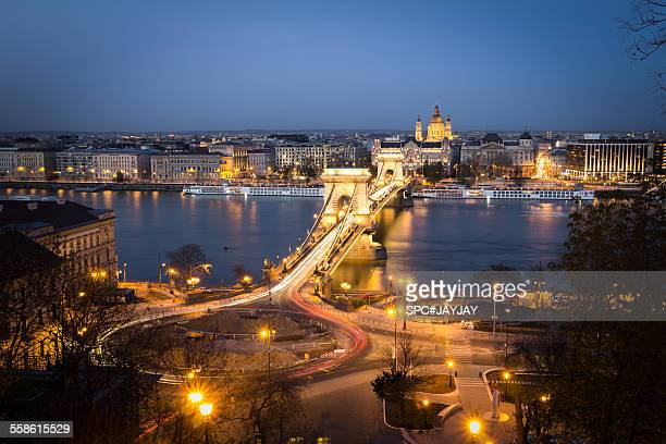 The Chain Bridge in Budapest at Night
