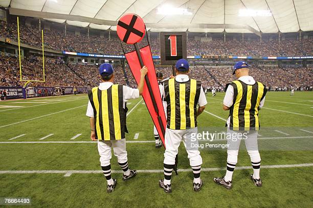 The chain gang tracks the line of scrimmage as the Minnesota Vikings defeated the Atlanta Falcons 243 at the Metrodome on September 9 2007 in...