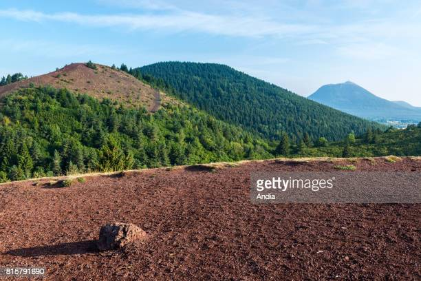 The Chaine des Puys a chain of cinder cones lava domes and maars in the Massif Central of France From left to right the volcanoes Puy de Lassolas Puy...