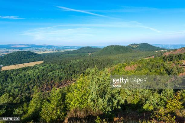 The Chaine des Puys a chain of cinder cones lava domes and maars in the Massif Central of France On the right the Puy de Poucharet volcano viewed...