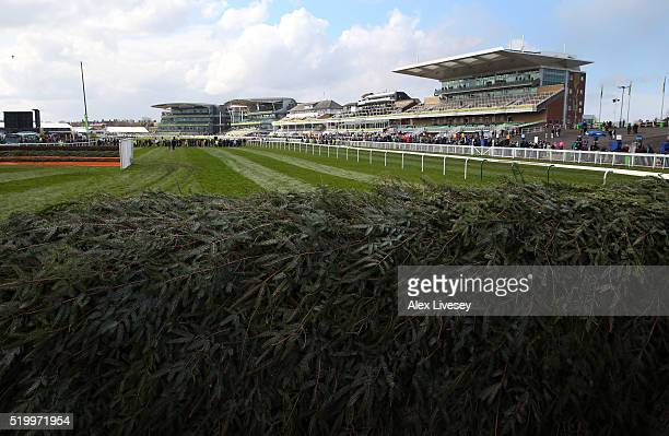 The Chair fence is seen prior to the start of the Crabbie's Grand National Steeple Chase meeting at Aintree Racecourse on April 9 2016 in Liverpool...