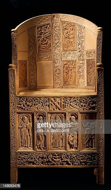 The chair of Bishop Maximian inlaid wood and ivory Paleochristian sculpture from Ravenna Italy Byzantine Civilization mid6th Century Ravenna Museo...