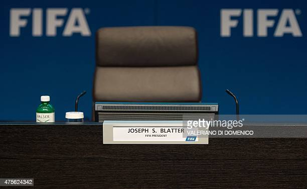 The chair of FIFA President Joseph S Blatter is ready before a press conference on June 2 2015 at the headquarters of the FIFA in Zurich FIFA...