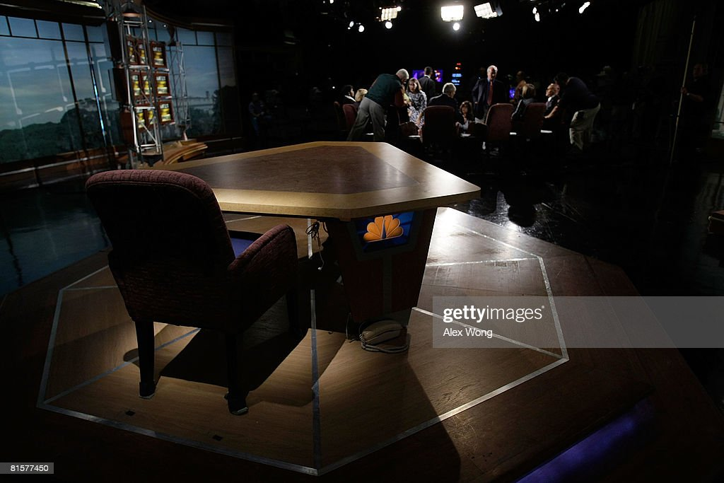 The chair of late moderator of 'Meet the Press', Tim Russert, sits empty on the set of the show June 15, 2008 at the NBC studios in Washington, DC. Russert died June 13, 2008 of a heart attack while at the NBC bureau in Washington at the age of 58.