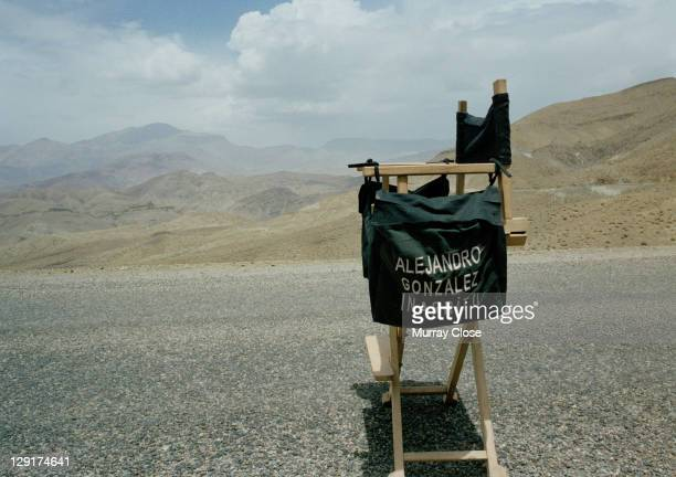 The chair of Mexican director Alejandro Gonzalez Inarritu during the filming of 'Babel' on location in Morocco 2005