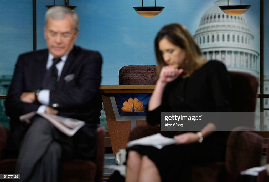 The chair of the late moderator of 'Meet the Press', Tim Russert, sits empty on the set as former NBC Nightly News anchor Tom Brokaw (L) and MTP Executive Producer Betsy Fischer (R) appear on the show in memory of Russert June 15, 2008 at the NBC studios in Washington, DC. Russert died June 13, 2008 of a heart attack while at the NBC bureau in Washington at the age of 58.