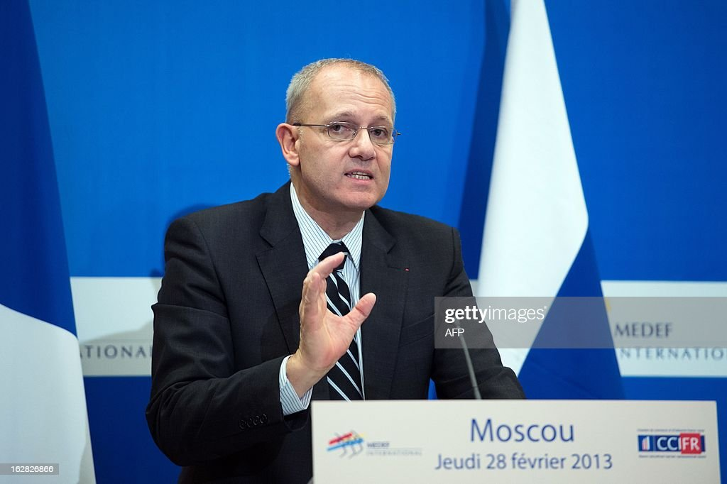 The chairman and chief executive officer of the European space launch company Arianespace, Jean-Yves Le Gall, speaks on February 28, 2013 at an economic forum with Russian and French businessmen in Moscow. French President Francois Hollande visited Moscow on February 28 to press Russian President Vladimir Putin to engage in efforts to agree a peaceful transition of power in Syria without President Bashar al-Assad.