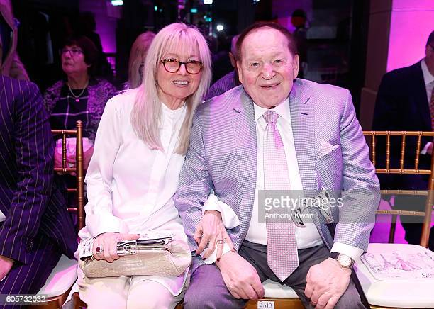 The chairman and chief executive officer of the Las Vegas Sands Corporation Sheldon Adelson and wife Miriam Adelson attend the Swarovski show during...
