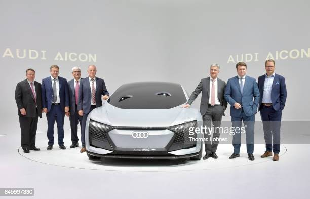 The Chairman of Audi Rupert Stadler and the management board present the new Audi concept car Aicon at the 2017 Frankfurt Auto Show on September 12...