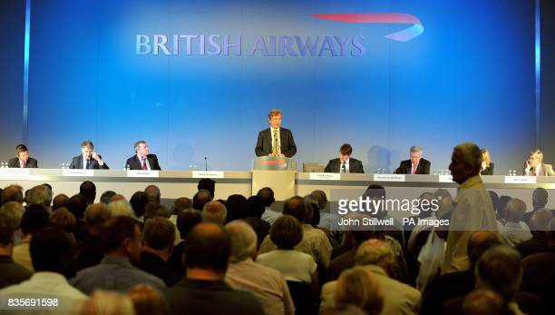 The Chairman of British Airways Martin Broughton opens the BA Annual General Meeting at the Queen Elizabeth centre London