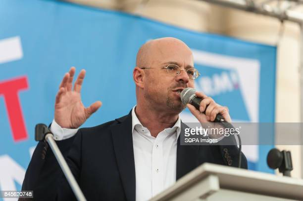 The chairman of the AfD Brandenburg Andreas Kalbitz speaks at the rally The rightwing party AfD took the opportunity to organize a rally in front of...