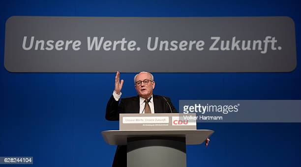 The Chairman of the CDU/CSU parliamentary group Volker Kauder speaks during the 29th annual congress of the Christian Democrats on December 7 2016 in...