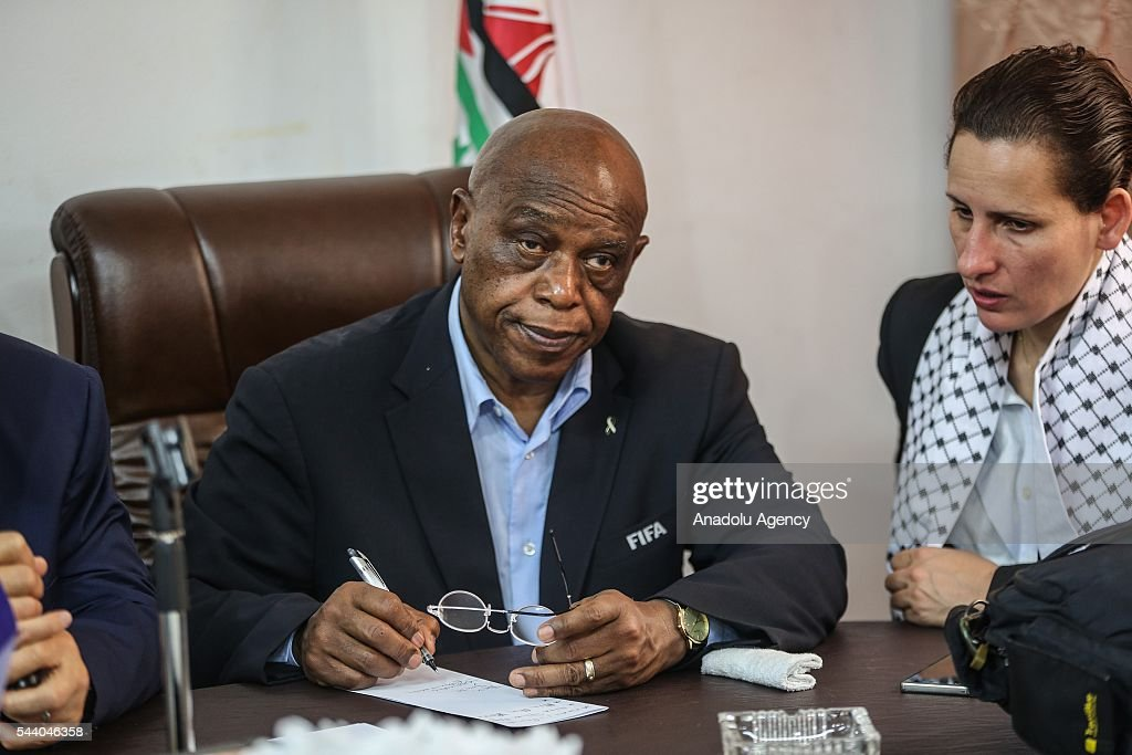 The chairman of the FIFA Monitoring Committee Israel-Palestine, Tokyo Sexwale attends a press confrence after his visits the Palestinian Football Association (PFA) headquarters building at Beit Lahia in distirct of Gaza City, Gaza on July 01, 2016.