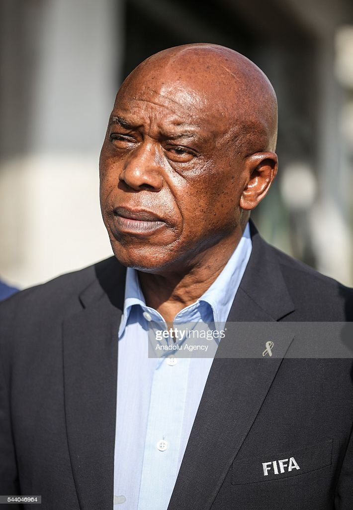 The chairman of the FIFA Monitoring Committee Israel-Palestine, Tokyo Sexwale visits the Palestinian Football Association (PFA) headquarters building at Beit Lahia in distirct of Gaza City, Gaza on July 01, 2016.