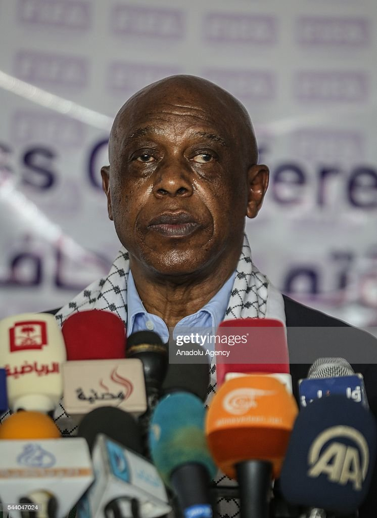 The chairman of the FIFA Monitoring Committee Israel-Palestine, Tokyo Sexwale holds a press conference after his visits the Palestinian Football Association (PFA) headquarters building at Beit Lahia in distirct of Gaza City, Gaza on July 01, 2016.
