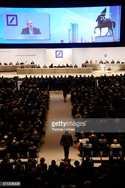 The chairman of the supervisory board of Deutsche Bank AG Paul Achleitner speaks at Deutsche Bank's annual shareholder meeting on May 21 2015 in...