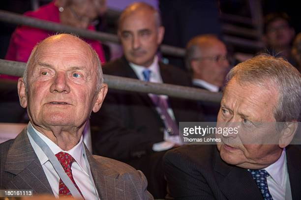 The chairman of the supervisory board of Volkswagen AG Ferdinand Piech and the chairman of the supervisory board of Porsche AG Wolfgang Porsche talk...
