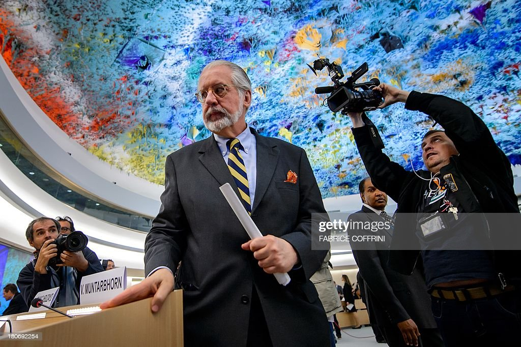 The chairman of the United Nations (UN) Commission of Inquiry on Syria, Brazilian Paulo Sergio Pinheiro, arrives on September 16, 2013 for the presentation of the commission's report before Human Rights Council's members in Geneva. Chemical weapons attacks are a war crime, a UN-mandated investigator told the world body's top human rights forum, slamming a litany of abuses in war-torn Syria.