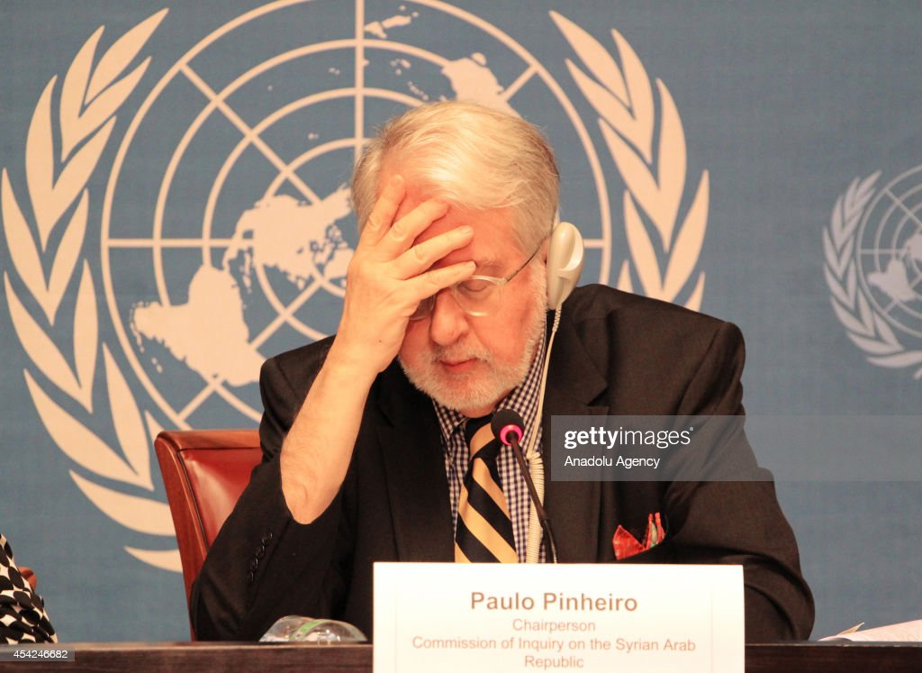 The chairman of the United Nations (UN) Commission of Inquiry on Syria, Paulo Pinheiro, attends a press conference at United Nations offices in Geneva, Switzerland on August 27, 2014. The report said Syrian government forces used chemical weapon on eight different occasions in April and May.