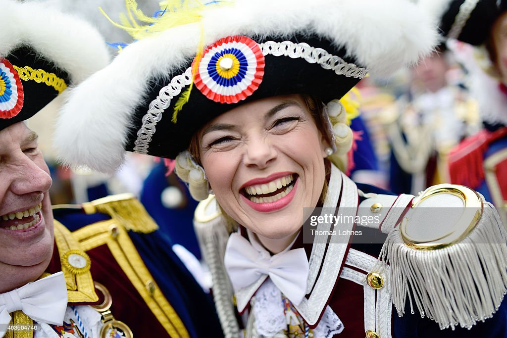 The chairwoman of the CDU in Rhineland-Palatinate celebrates with the 'Ranzengarde' <a gi-track='captionPersonalityLinkClicked' href=/galleries/search?phrase=Julia+Kloeckner&family=editorial&specificpeople=6902085 ng-click='$event.stopPropagation()'>Julia Kloeckner</a> during the annual Rose Monday carnival parade on February 16, 2015 in Mainz, Germany. Rose Monday, in German called Rosenmontag, is the highpoint of the annual carnival season that has a rich and widespread tradition, particularly in southwestern Germany.