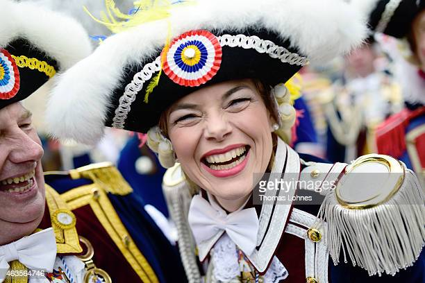 The chairwoman of the CDU in RhinelandPalatinate celebrates with the 'Ranzengarde' Julia Kloeckner during the annual Rose Monday carnival parade on...