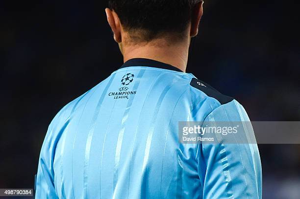 The Chamopions League logo is seen on the jersey of a Referee during the UEFA Champions League Group E match between FC Barcelona and AS Roma at Camp...