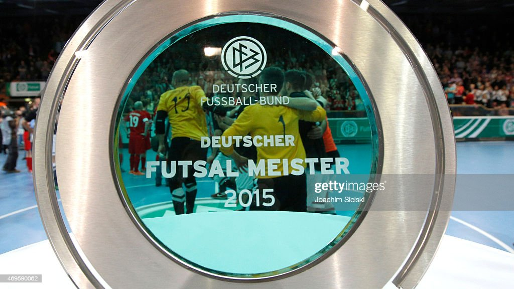 The champions cup pictured after the DFB Futsal Cup Final between Holzpfosten Schwerte and Hamburg Panthers at ENERVIE Arena on April 11 2015 in...
