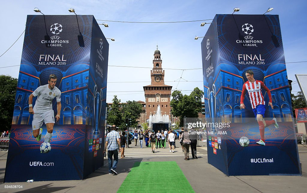 The Champions Festival with images of Gareth Bale of Real Madrid and Fernando Torres of Atletico Madrid at the entrance to Milan Castle prior to the final at Stadio Giuseppe Meazza on May 26, 2016 in Milan, Italy.