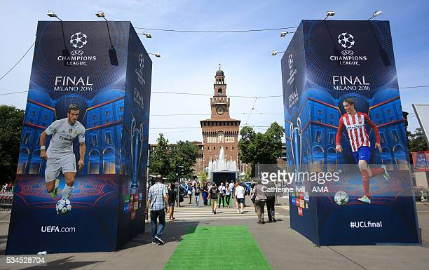 The Champions Festival with images of Gareth Bale of Real Madrid and Fernando Torres of Atletico Madrid at the entrance to Milan Castle prior to the...