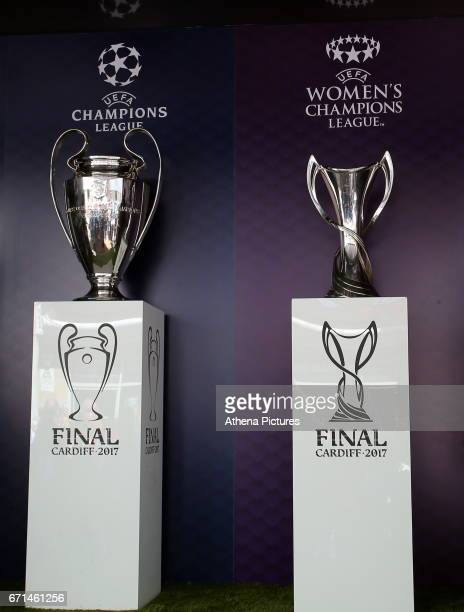 The Champions League and Women's Champions League trophies on display outside the stadium prior to the Premier League match between Swansea City and...