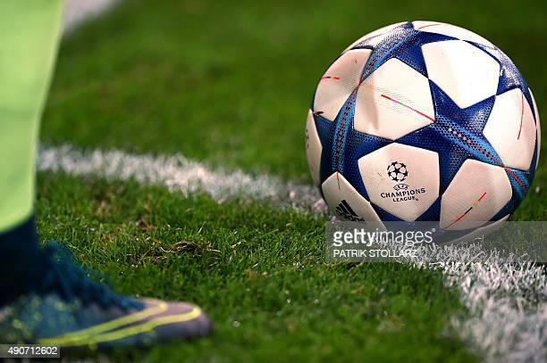The Champions League football lays on the corner during the UEFA Champions League firstleg Group D football match between Borussia Monchengladbach...