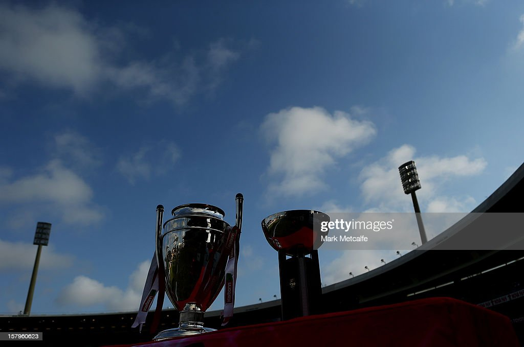 The Champions League T20 and Big Bash T20 Trophies are seen prior to the Big Bash League match between the Sydney Sixers and the Sydney Thunder at Sydney Cricket Ground on December 8, 2012 in Sydney, Australia.