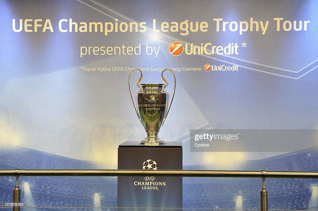 The Champions League trophy is displayed as part of the UEFA Champions League Trophy Tour on September 30, 2011 in Kiev, Ukraine.