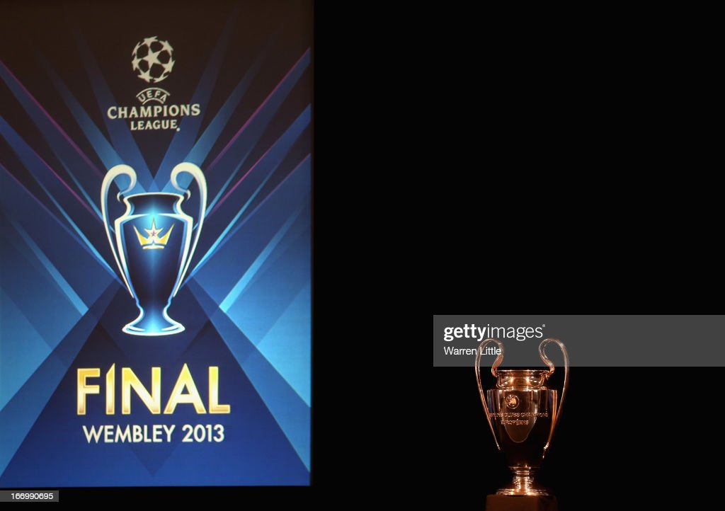 The Champions League trophy is pictured during the UEFA Champions League and UEFA Women's Champions League Cup handover ceremony at Banqueting House, Whitehall on April 19, 2013 in London, England. Wembley Stadium in London will host on May 25 the final football match of the UEFA Champions League.