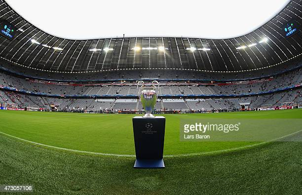 The Champions League trophy is seen pitchside ahead of the UEFA Champions League semi final second leg match between FC Bayern Muenchen and FC...