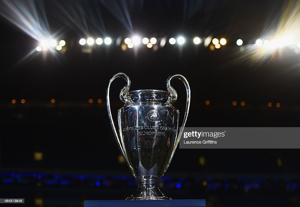 The Champions league trophy is seen prior to the UEFA Champions League Round of 16 match between Manchester City and Barcelona at Etihad Stadium on...