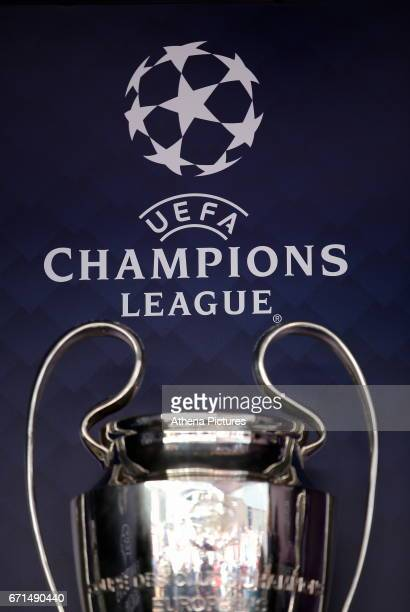 The Champions League trophy on display outside the stadium prior to the Premier League match between Swansea City and Stoke City at The Liberty...