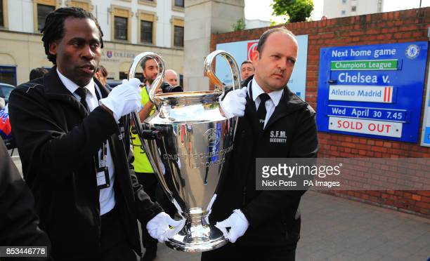 The Champions League Trophy that did a walking tour down the Fulham Broadway Road before the UEFA Champions League match at Stamford Bridge London