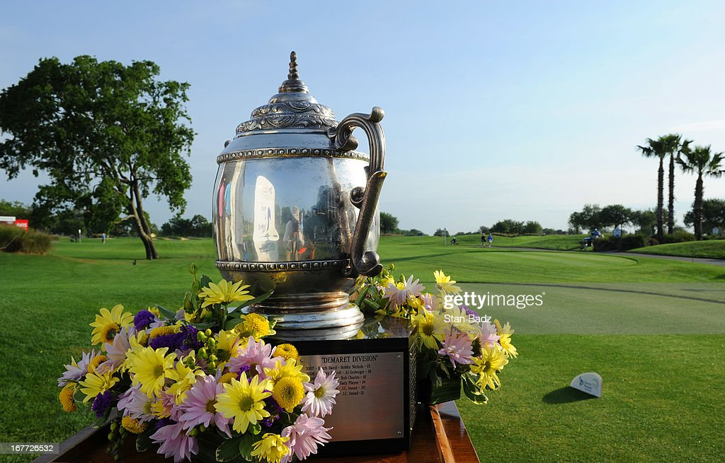 The champions trophy is displayed on the first hole during the final round of the Legends Division at the Liberty Mutual Insurance Legends of Golf at The Westin Savannah Harbor Golf Resort & Spa on April 28, 2013 in Savannah, Georgia.