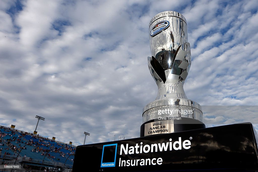 The champions trophy sits on a pedestal on pit road prior to the NASCAR Nationwide Series Ford EcoBoost 300 at Homestead-Miami Speedway on November 17, 2012 in Homestead, Florida.