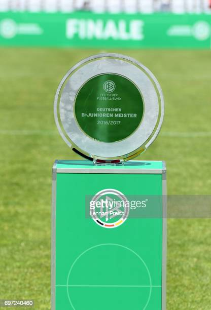 The Championship Trophy is seen before the B Juniors German Championship Final between FC Bayern Muenchen and SV Werder Bremen at Stadion an der...