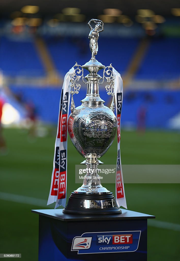 The Championship trophy on display pitchside ahead of the Sky Bet Championship match between Birmingham City and Middlesbrough at St Andrews on April 29, 2016 in Birmingham, United Kingdom.