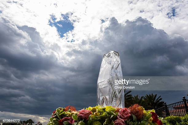 The championship trophy sits on display as storm clouds roll in during the second round of THE PLAYERS Championship on THE PLAYERS Stadium Course at...