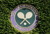 The Championships logo is seen on the third day of the Wimbledon Lawn Tennis Championship on June 22 2005 at the All England Lawn Tennis and Croquet...
