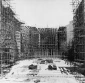 The chancel of the new cathedral at Coventry under construction circa 1958