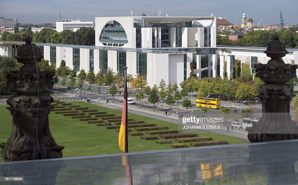 The Chancellery is seen from the roof of the German Bundestag (lower house of parliament) in Berlin on September 25, 2013 in Berlin.