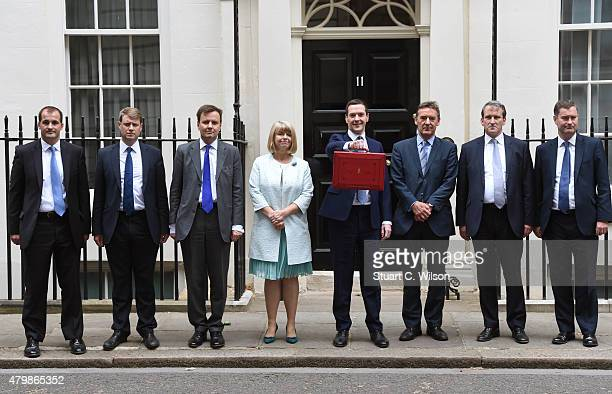 The Chancellor of the Exchequer George Osborne and his treasury team Greg Hands David Gauke Damian Hinds Harriet Baldwin and Lord O'Neill of Gatley...