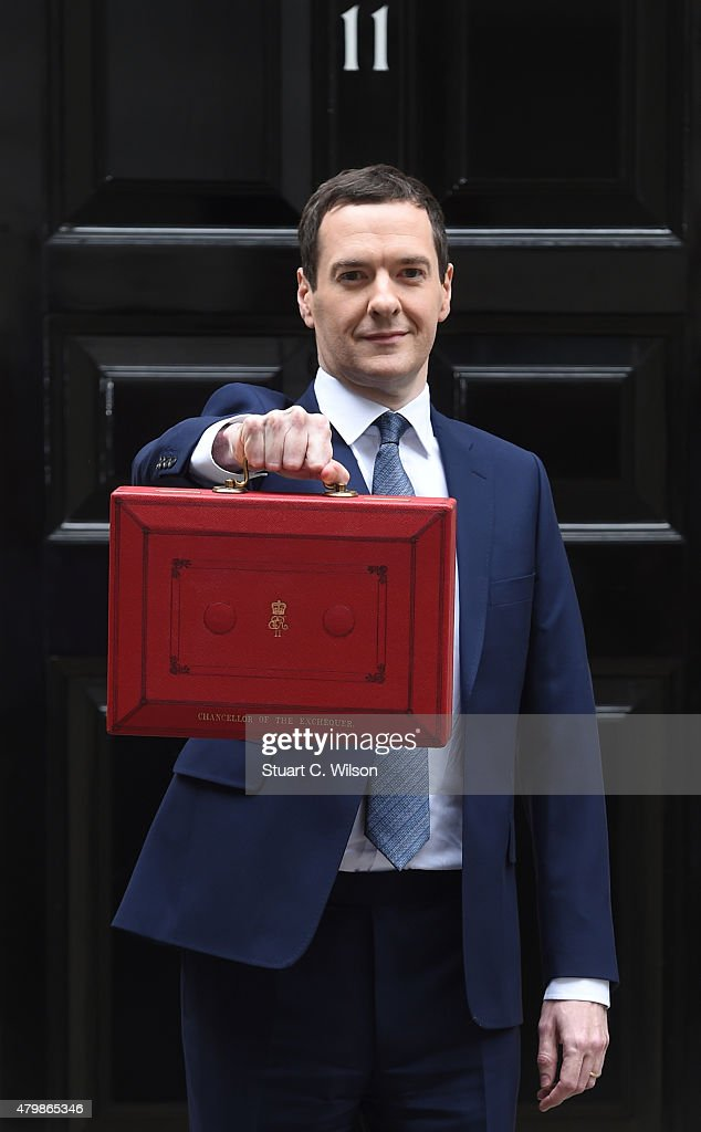 The Chancellor of the Exchequer George Osborne holds his ministerial red box up to the media as he leaves 11 Downing Street on July 8, 2015 in London, England. The Chancellor is presenting his summer budget today to Parliament and is expected to announce £12 billion in welfare cuts.